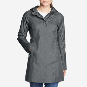 Eddie Bauer grey quilted lined winter coat long